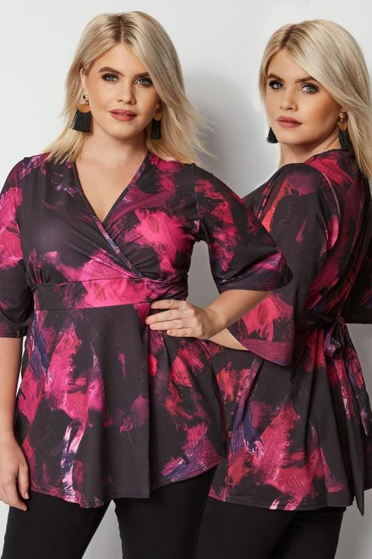 Plus Size Blouses YOURS LONDON Black & Purple Brush Stroke Wrap Top