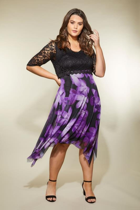 Plus Size Evening Dresses YOURS LONDON Black & Purple Floral Dress With Lace Overlay