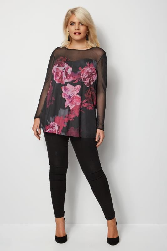 YOURS LONDON Black & Purple Floral Mesh Peplum Top