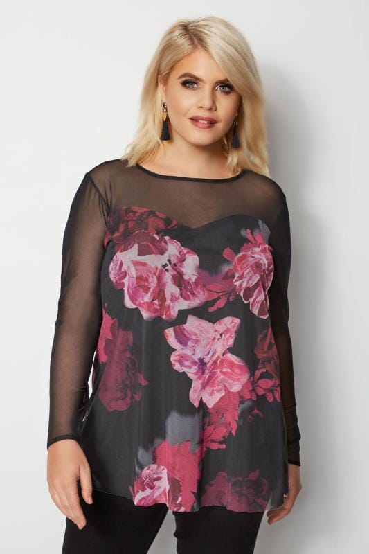 Plus Size Party Tops YOURS LONDON Black & Purple Floral Mesh Peplum Top