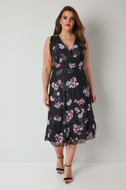 YOURS LONDON Black & Purple Floral Print Wrap Mesh Dress