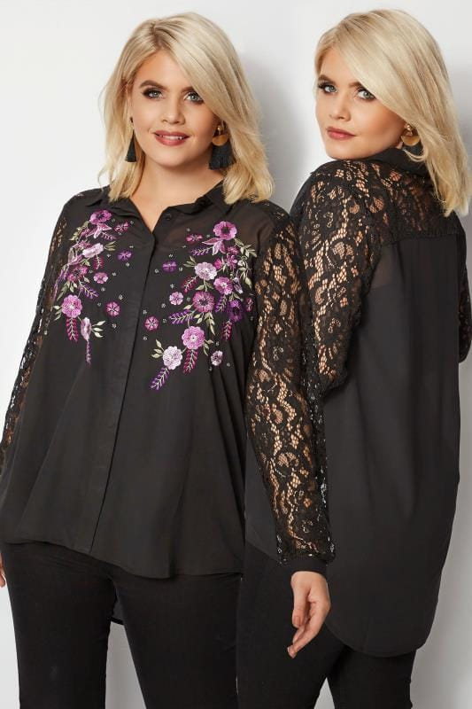 Plus Size Shirts YOURS LONDON Black & Purple Floral Sequin Embroidered Shirt With Lace Sleeves