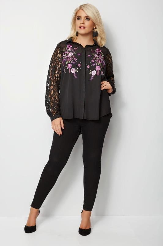YOURS LONDON Black & Purple Floral Sequin Embroidered Shirt With Lace Sleeves