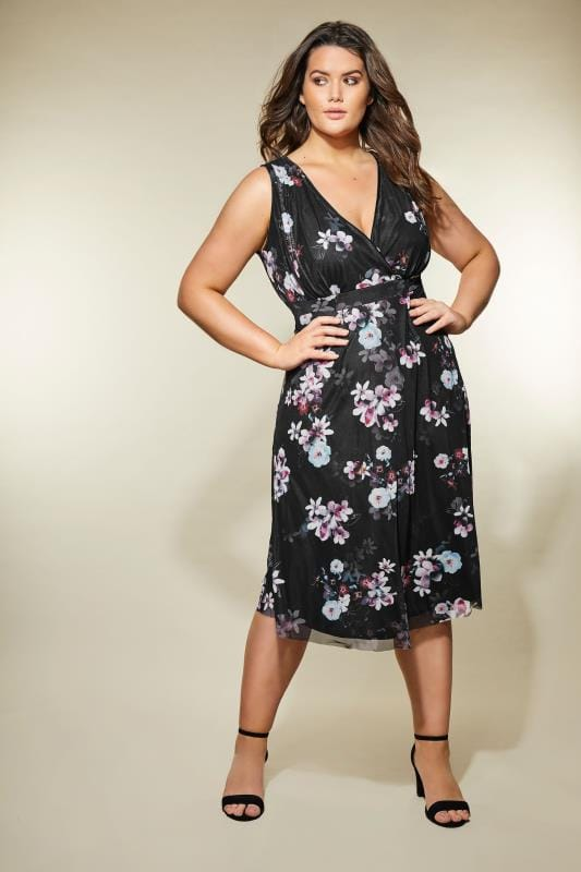 Plus Size Midi Dresses YOURS LONDON Black & Purple Floral Wrap Dress
