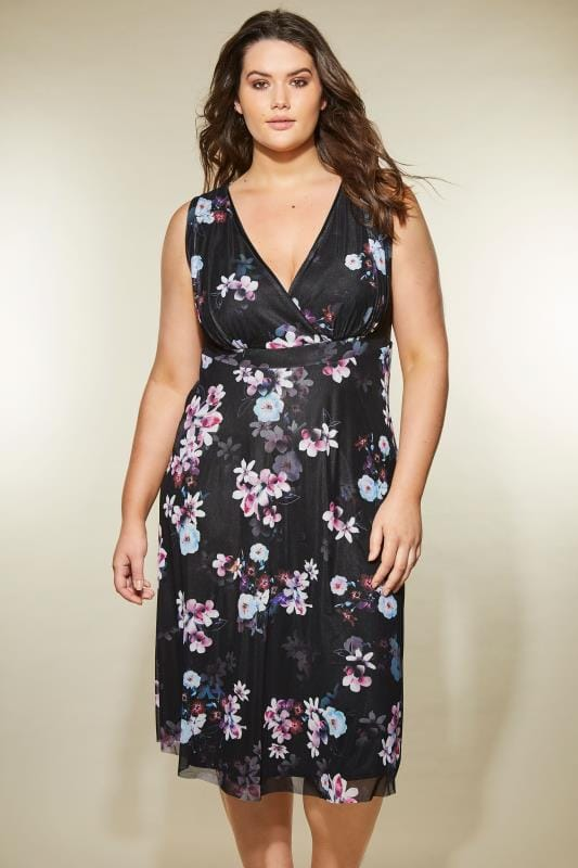 YOURS LONDON Black & Purple Floral Wrap Dress