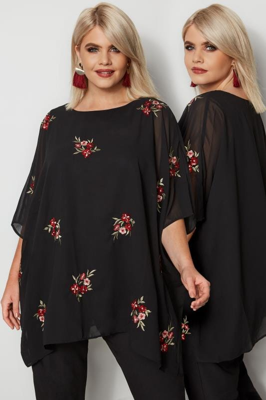 Plus Size Blouses YOURS LONDON Black & Red Floral Embroidered Sequin Cape Top