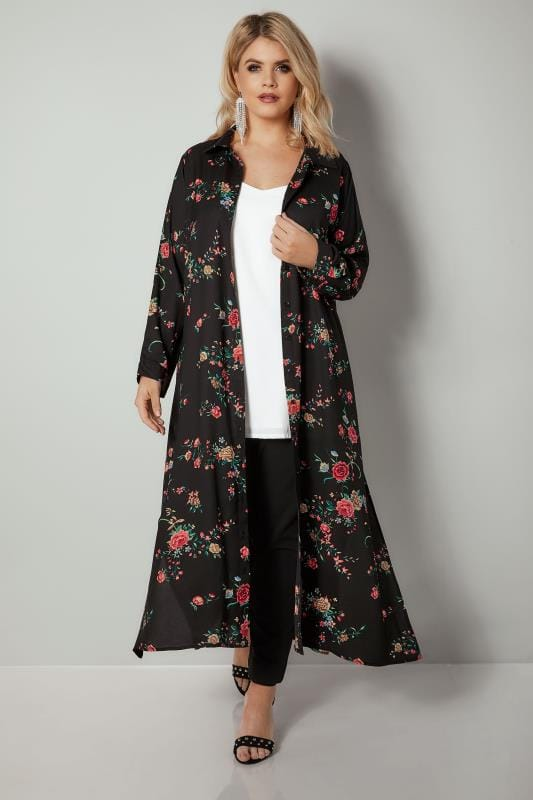 YOURS LONDON Black & Red Floral Print Maxi Shirt