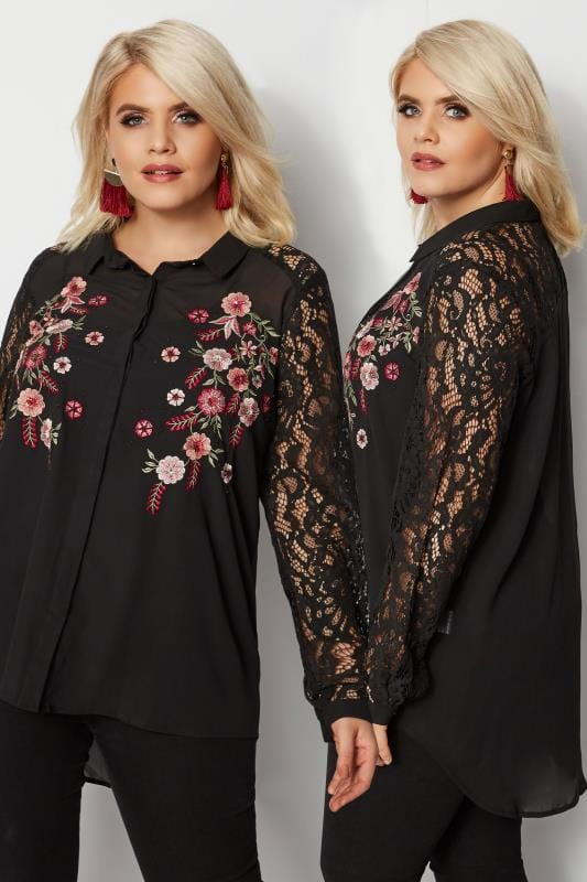 Plus Size Shirts YOURS LONDON Black & Red Floral Sequin Embroidered Shirt With Lace Sleeves
