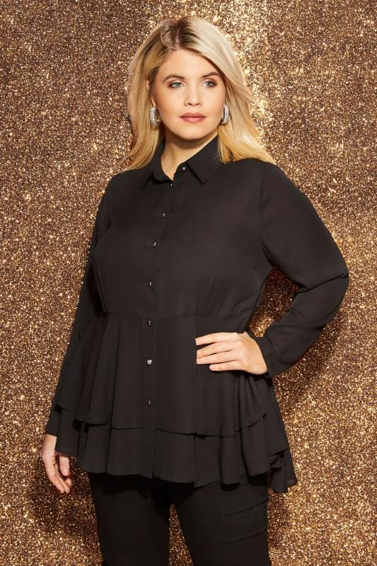 Plus Size Shirts YOURS LONDON Black Ruffle Shirt