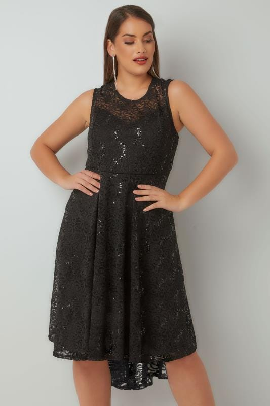 black sequin embellished dress with curved hem plus size 16 to 36. Black Bedroom Furniture Sets. Home Design Ideas