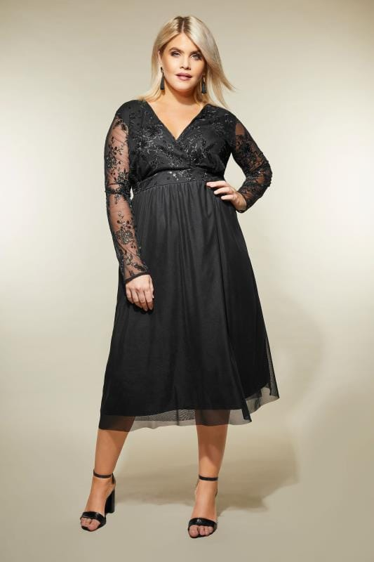 Yours London Black Sequin Embellished Lace Dress Plus Size 16 To 32