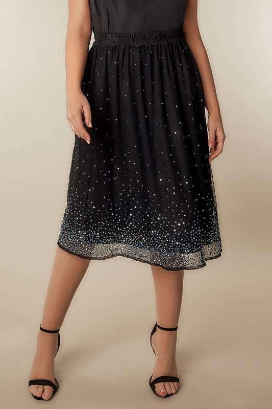 YOURS LONDON Black Sequin Embellished Midi Skirt