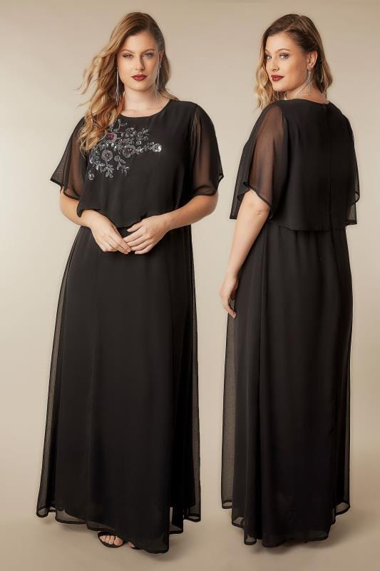 Plus Size Maxi Dresses YOURS LONDON Black Sequin Floral Embellished Cape Sleeve Maxi Dress