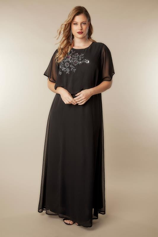 YOURS LONDON Black Sequin Floral Embellished Cape Sleeve Maxi Dress