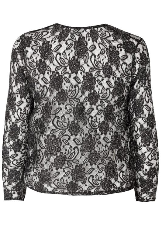 YOURS LONDON Black Floral Lace Shrug With Metallic Thread