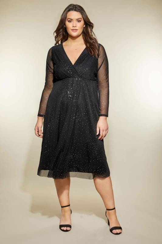 YOURS LONDON Black Star Burst Glittery Mesh Dress
