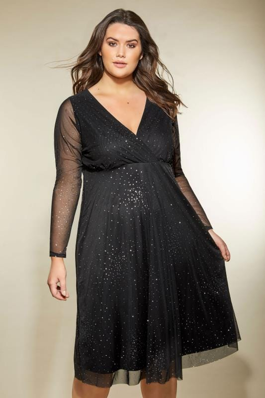 Plus Size Black Dresses YOURS LONDON Black Star Burst Glittery Mesh Dress