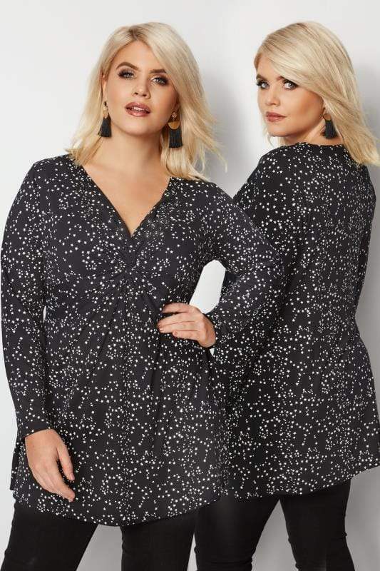 Plus Size Jersey Tops YOURS LONDON Black Star Knot Top