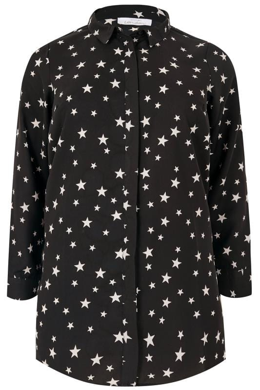 Plus Size Shirts YOURS LONDON Black Star Longline Shirt