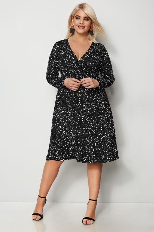 YOURS LONDON Black Star Print Wrap Dress
