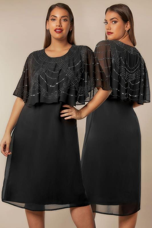 Plus Size Midi Dresses YOURS LONDON Black Stone & Sequin Embellished Cape Midi Dress
