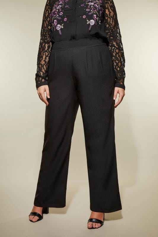 YOURS LONDON Black Straight Leg Trousers