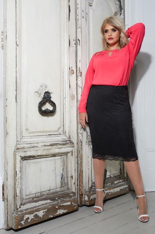 YOURS LONDON Black Stretch Lace Pencil Skirt With Scalloped Hem