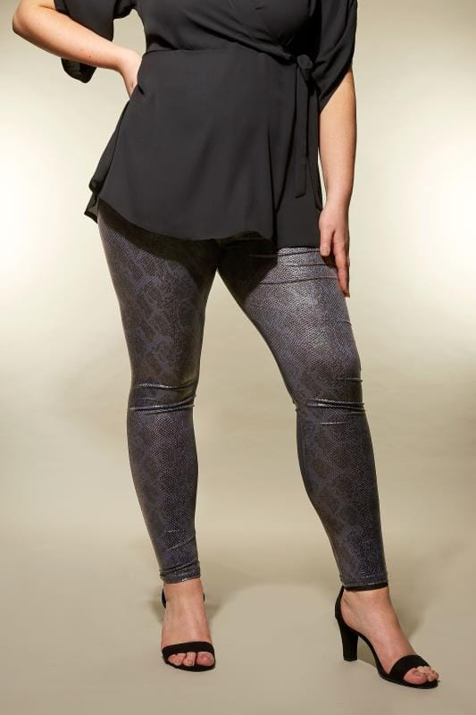 Große Größen Mode-Leggings YOURS LONDON Black Textured Snake Print Leggings