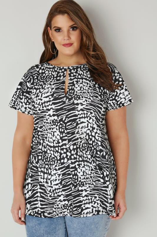 Plus Size Smart Jersey Tops YOURS LONDON Black & White Animal Print Top With Keyhole Front