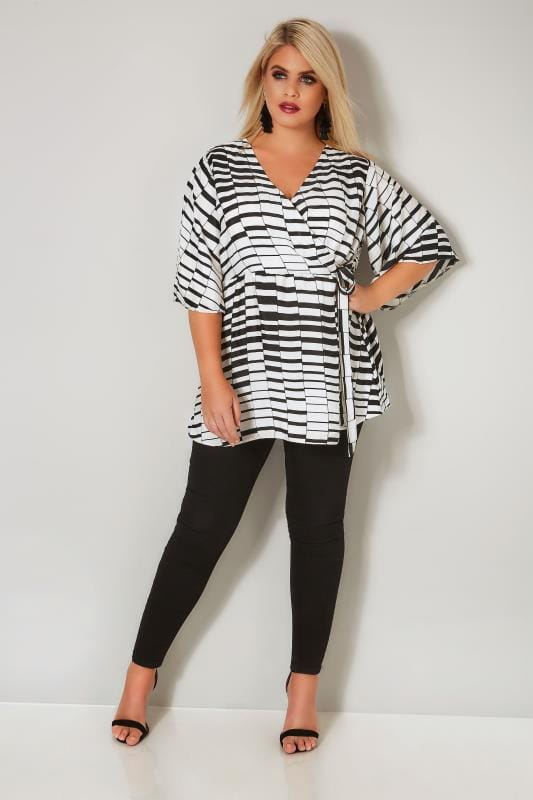 YOURS LONDON Black & White Chiffon Wrap Blouse With Kimono Sleeves