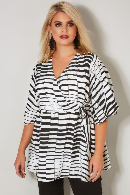 Plus Size Blouses YOURS LONDON Black & White Chiffon Wrap Blouse With Kimono Sleeves
