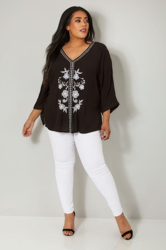 YOURS LONDON Black & White Floral Embroidered Top With Rear Tie Fastening