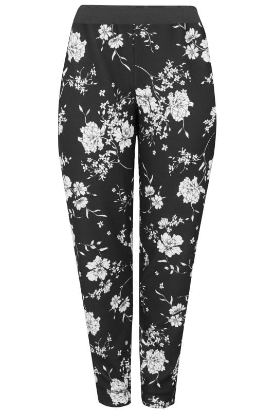 Plus Size Harem Trousers YOURS LONDON Black & White Floral Harem Trousers