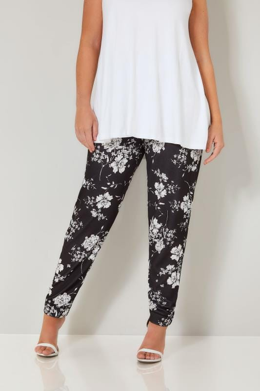 Plus Size Harem Trousers YOURS LONDON Black & White Floral Jersey Harem Trousers