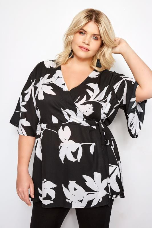 YOURS LONDON Black & White Floral Kimono Wrap Blouse