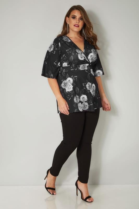 YOURS LONDON Black & White Floral Wrap Top