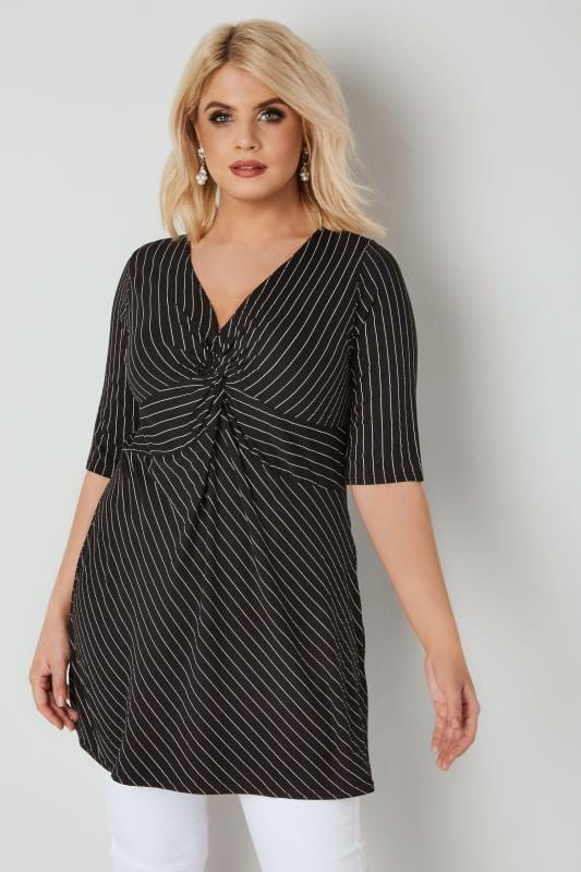 YOURS LONDON Black & White Longline Striped Knot Top