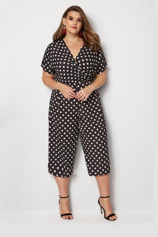 YOURS LONDON Black & White Polka Dot Jumpsuit