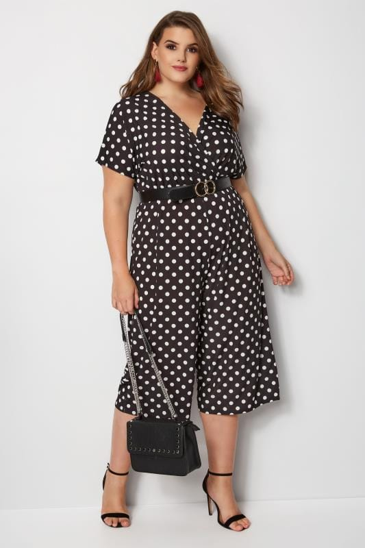 b00ca8cb58a50 YOURS LONDON Black   White Polka Dot Jumpsuit