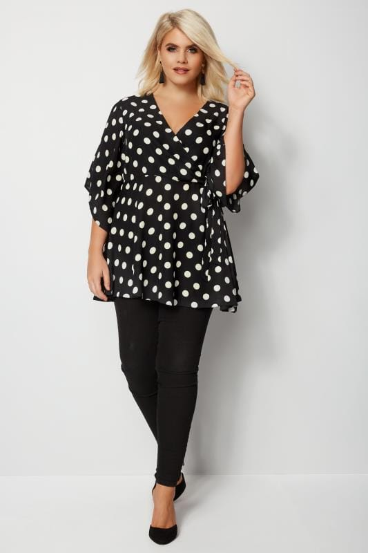 YOURS LONDON Black & White Polka Dot Wrap Top