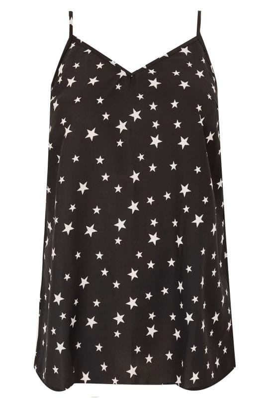 Plus Size Party Tops YOURS LONDON Black Star Cami