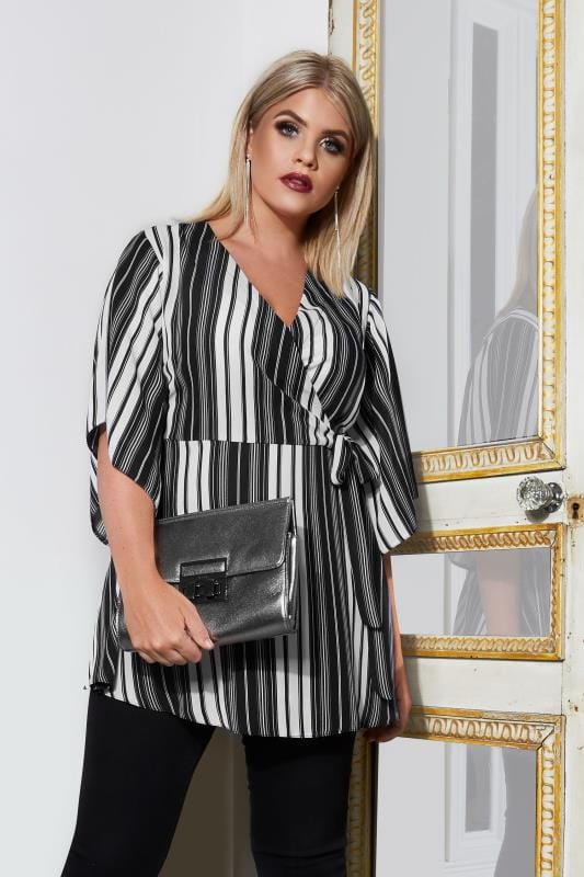 Plus Size Blouses & Shirts YOURS LONDON Black & White Striped Wrap Blouse With Kimono Sleeves
