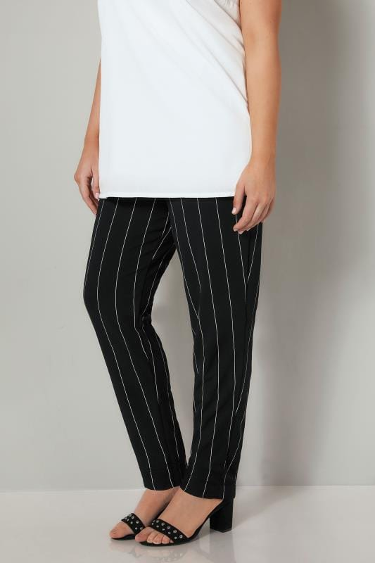 YOURS LONDON Black & White Striped Tapered Trousers