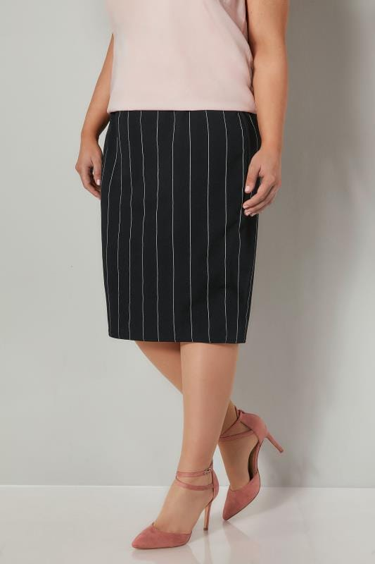 Plus Size Pencil Skirts YOURS LONDON Black & White Striped Pencil Skirt With Elasticated Waistband