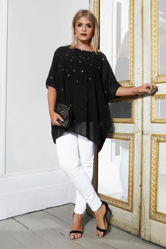 YOURS LONDON Black Cape Blouse With Star Embellishment