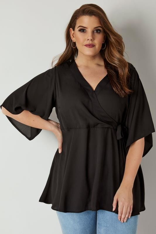 YOURS LONDON Black Wrap Blouse With Kimono Sleeves