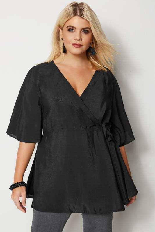 Plus Size Blouses YOURS LONDON Black Wrap Blouse With Kimono Sleeves