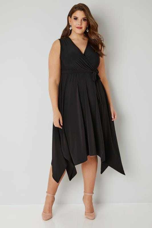 Plus Size Black Dresses YOURS LONDON Black Wrap Dress With Hanky Hem