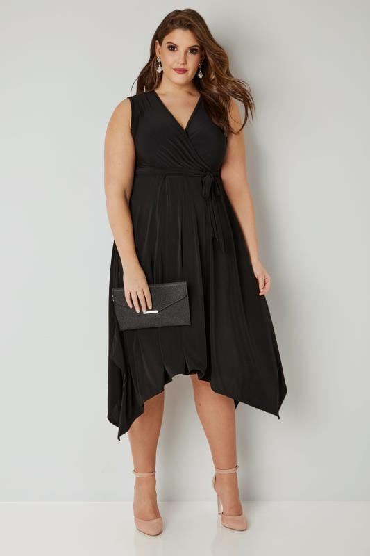 YOURS LONDON Black Wrap Dress With Hanky Hem