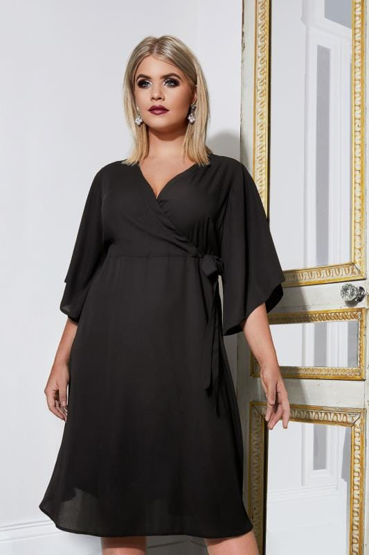 YOURS LONDON Black Wrap Dress With Tie Waist